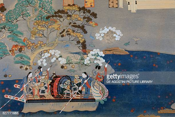 Rowing boat, illustration for Eiga Monogatari , by Akazome Emon . Japan, 10th-11th century.