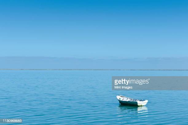 rowing boat moored in harbor - moored stock pictures, royalty-free photos & images