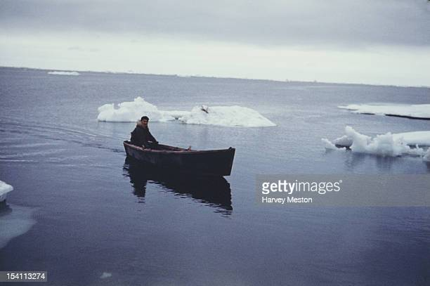 A rowing boat off Point Barrow on the Arctic coast of Alaska USA circa 1965 It is the northernmost point of the United States