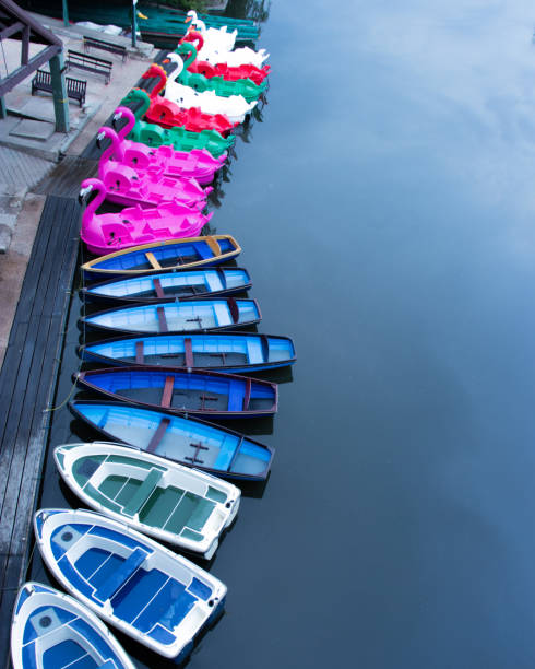 Rowing Boats And Pedelos Tired Up On River Avon