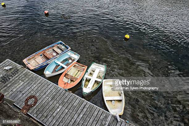 5 rowing boats - moored stock pictures, royalty-free photos & images