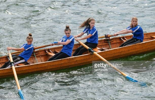 A rowing crew approach the finish of their race during the annual Whitby Regatta on August 10 2019 in Whitby England At over 170 years old the Whitby...