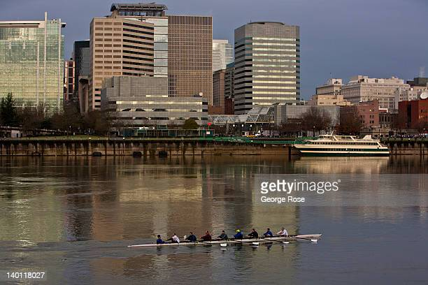 A rowing crew glides past the downtown skyline on February 11 in Portland Oregon Portland has embraced its national reputation as a city inhabited...
