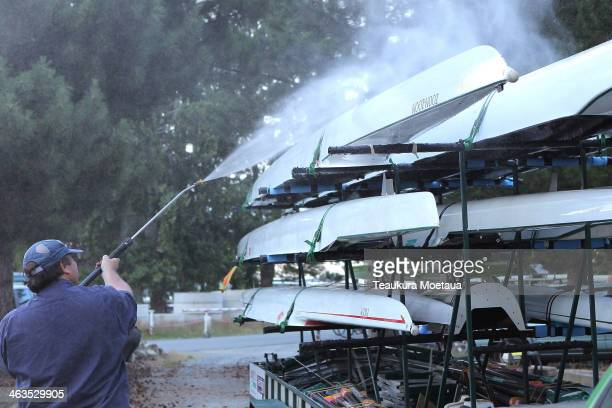 Rowing crews prepare to travel home as finals racing has been cancelled for the day at the Canterbury Championships on January 19 2014 in Twizel New...