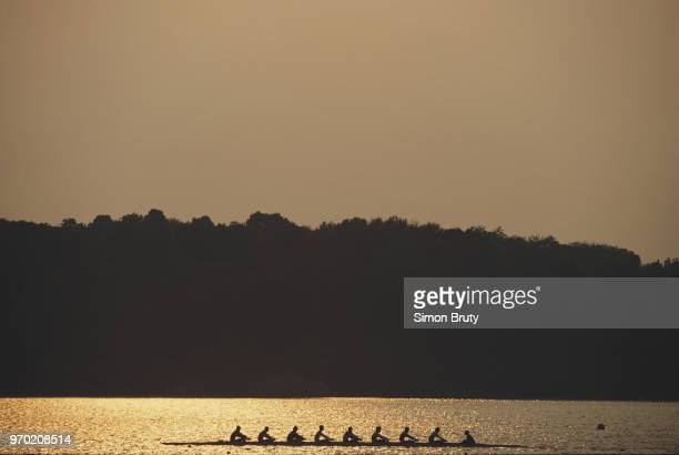 A rowing eights crew in training during the FISA World Rowing Championships on 15 September 1994 in Indianapolis Indiana United States