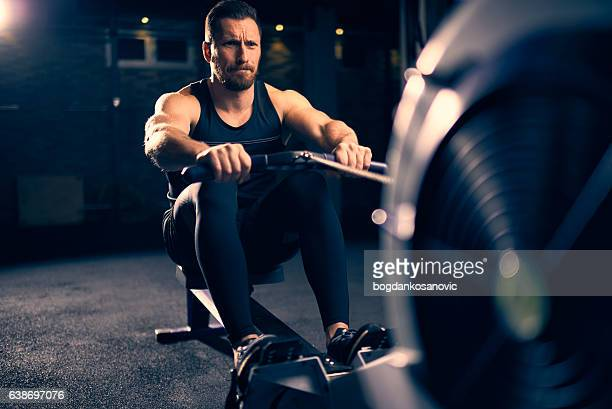 Rowing machine exercising