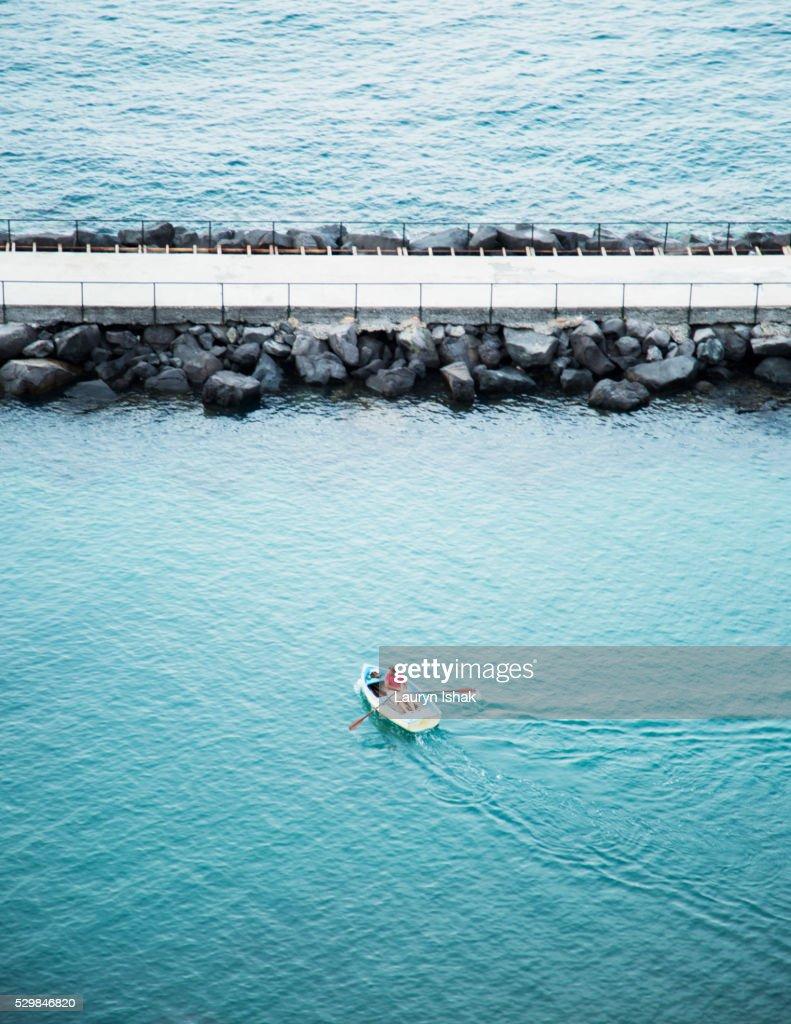 Rowing off the coast of Sorrento, Italy : Stock Photo