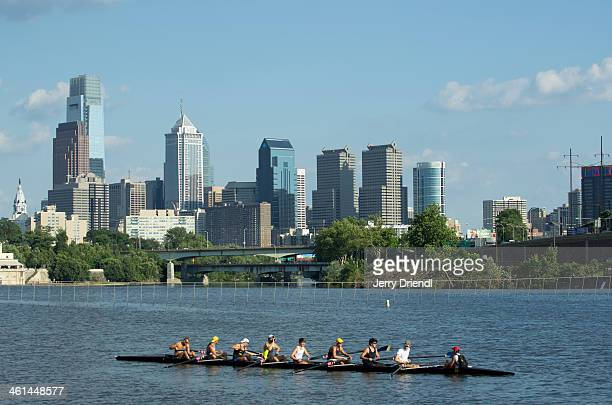 Rowing on the Schuylkill and Philly skyline.