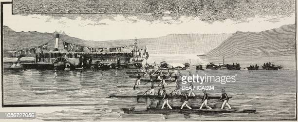 Rowing race in Stresa, Italy, engraving from L'Illustrazione Italiana, year 16, no 39, September 29, 1889.