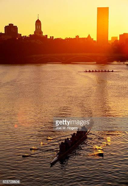 Rowing Teams Practicing at Dawn