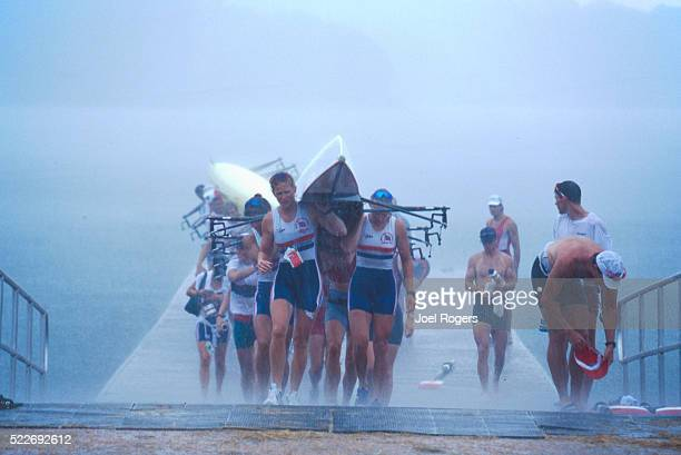 rowing, women's eight workout, 1996 olympics - the olympic games stock pictures, royalty-free photos & images
