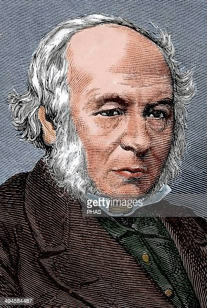 Rowland Hill British teacher and creator of the first postage stamp the Penny Black Engraving by Capuz in The Spanish and American Illustration 1879...