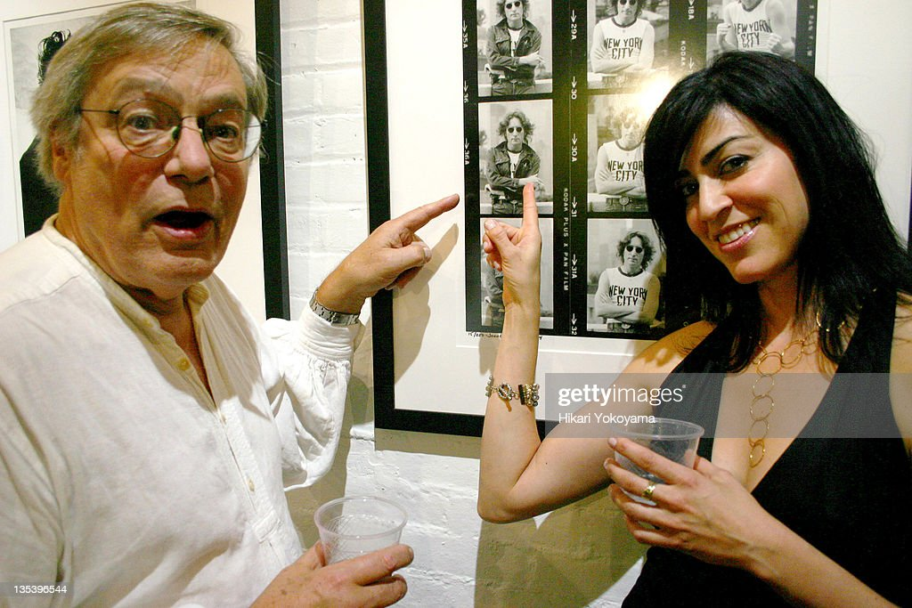 Rowland Scherman and Vanessa Moran during Bob Gruen Print Sale Benefiting the Joey Ramone Foundation at Morrison Hotel Gallery Loft in New York, New York, United States.