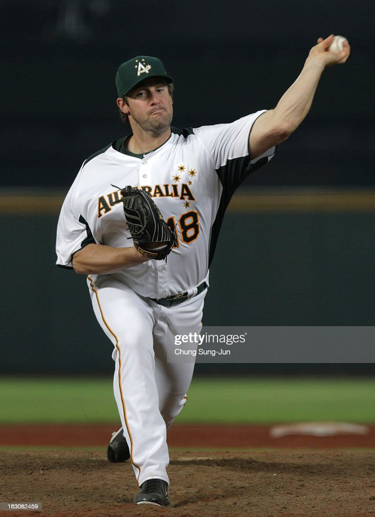 Rowland Smith of Australia pitches in the eighth inning during the World Baseball Classic First Round Group B match between South Korea and Australia at Intercontinental Baseball Stadium on March 4, 2013 in Taichung, Taiwan.