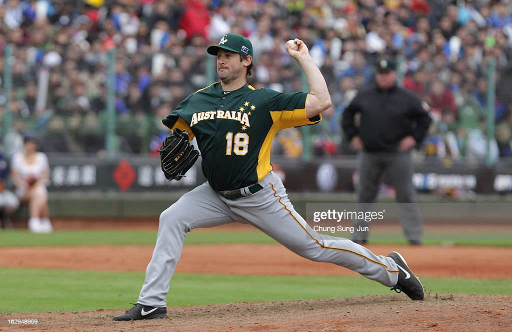 Rowland Smith of Australia pitchs in the bottom of eighth inning during the World Baseball Classic First Round Group B match between Australia and Chinese Taipei at Intercontinental Baseball Stadium on March 2, 2013 in Taichung, Taiwan.