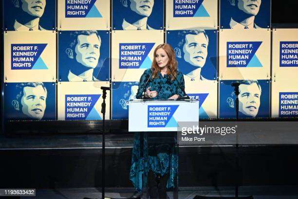 Rowling accepts an award onstage during the Robert F. Kennedy Human Rights Hosts 2019 Ripple Of Hope Gala & Auction In NYC on December 12, 2019 in...