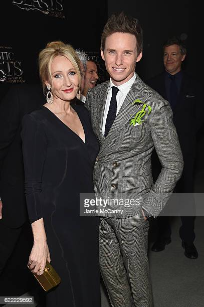 J K Rowling and Eddie Redmayne attend the 'Fantastic Beasts And Where To Find Them' World Premiere at Alice Tully Hall Lincoln Center on November 10...