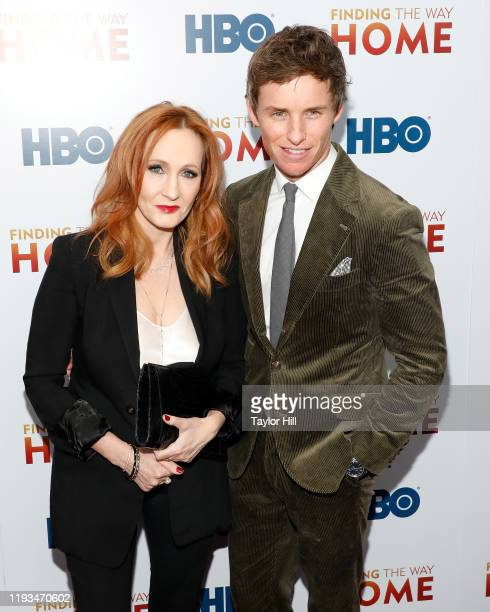 """Rowling and Eddie Redmayne attend the premiere of """"Finding the Way Home"""" at Hudson Yards on December 11, 2019 in New York City."""