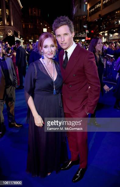 J K Rowling and Eddie Redmayne attend the UK Premiere of Fantastic Beasts The Crimes of Grindelwald in London's Leicester Square on November 13 2018...
