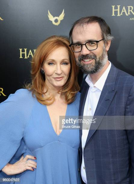 K Rowling and husband Neil Murray arrive at Harry Potter and The Cursed Child parts 1 2 on Broadway Opening Night at The Lyric Theatre on April 22...