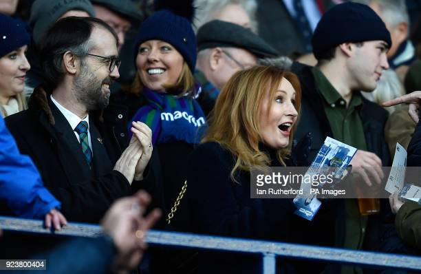 JK Rowling and husband Neil Murray in the stands before the RBS Six Nations match at BT Murrayfield Edinburgh