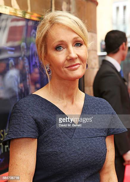 K Rowling attends the press preview of 'Harry Potter The Cursed Child' at The Palace Theatre on July 30 2016 in London England
