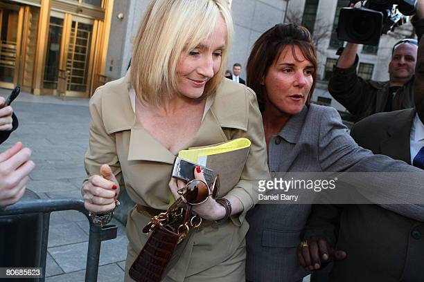 K Rowling author of the 'Harry Potter' books leaves the US District Court April 15 2008 in New York City Rowling along with Warner Bros has filed...