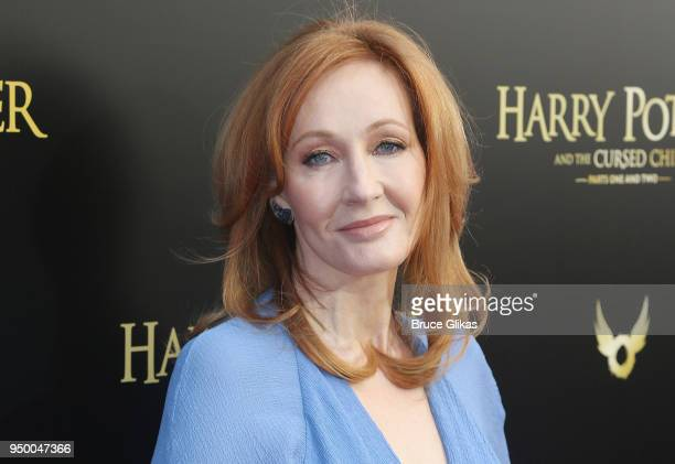 K Rowling poses at 'Harry Potter and The Cursed Child parts 1 2' on Broadway Opening Night at The Lyric Theatre on April 22 2018 in New York City