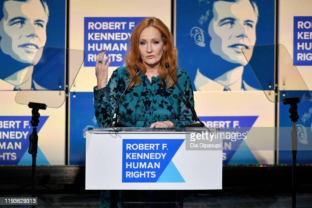 K Rowling speaks onstage at the 2019 RFK Ripple of Hope Awards at New York Hilton Midtown on December 12 2019 in New York City