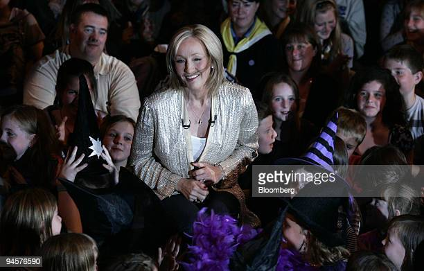 J K Rowling surrounded by fans at a launch party for Harry Potter and the Deathly Hallows in the Natural history Museum in London UK Friday July 20...