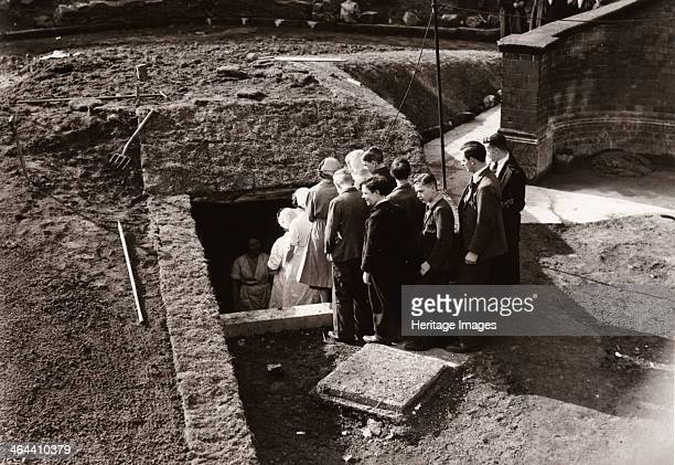 Rowntree employees queue to get into an Air Raid Shelter York Yorkshire 1939