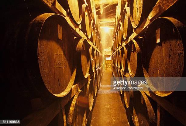Rows of Armagnac Brandy Barrels