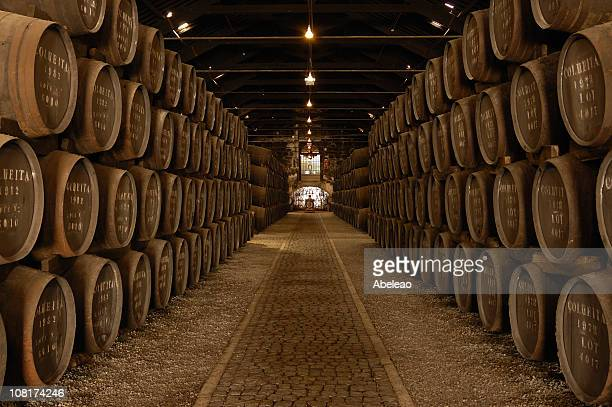Rows of Barrels in a Large Wine Cellar
