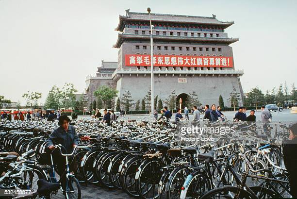 Rows of bicycles in Tiananmen Square Beijing China circa 1965
