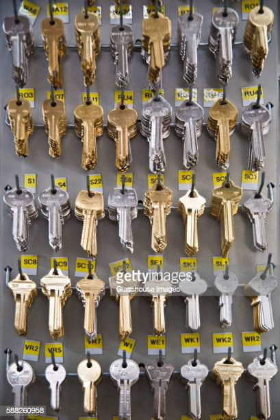 Rows of Blank Keys in Hardware Store