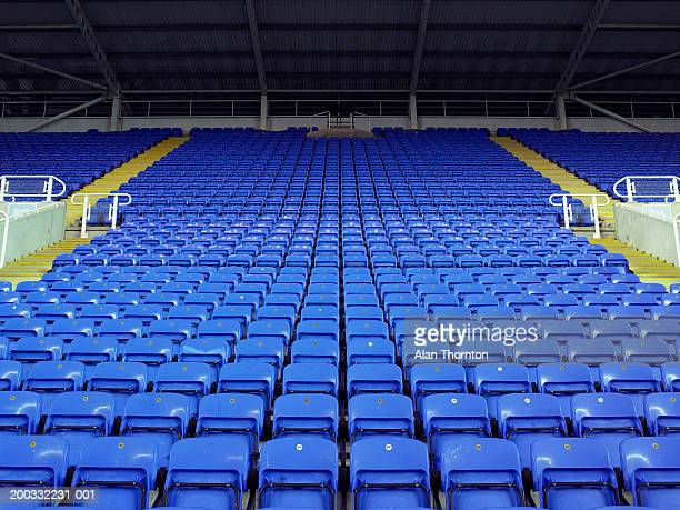 rows of blue seats in stadium - stadion stockfoto's en -beelden
