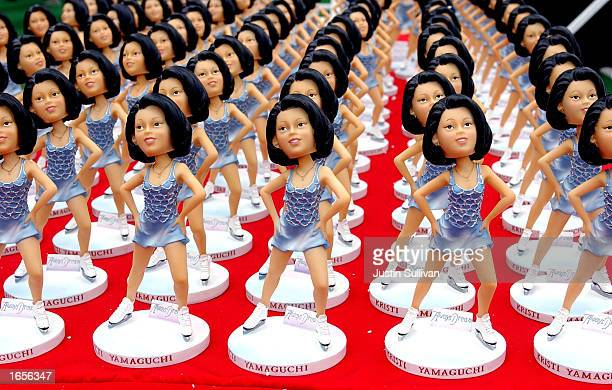 Rows of bobblehead dolls depicting Olympic skater Kristi Yamaguchi are shown on November 22 2002 in San Francisco California Yamaguchi signed the...