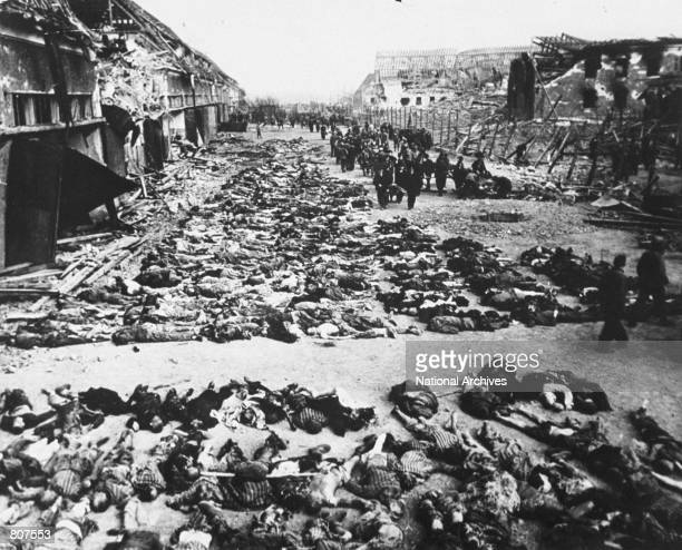Rows of bodies of dead inmates fill up the yard of Lager Nordhausen a Gestapo concentration camp April 12 1945 in Germany This photo shows less than...
