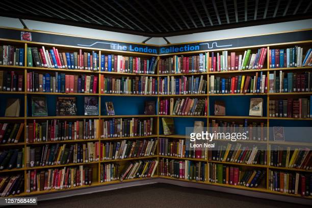 Rows of books relating to the city are seen in the London Collection section of the Barbican library following it's reopening at Barbican Centre on...