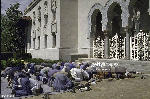 Rows of bowing Muslims in daily prayer overflowing into street outside of Islamic Center regarding growing popularity of Islam in US