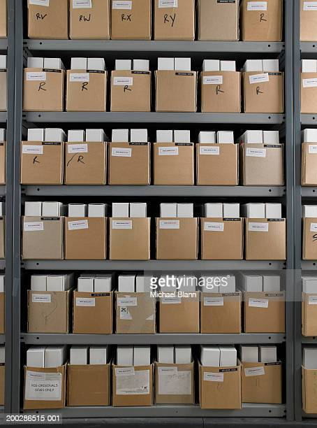 Rows of boxes in storage room