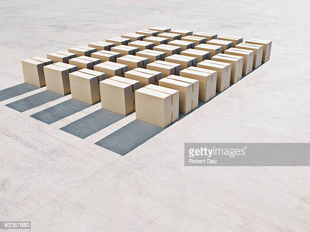 Rows of boxes on sidewalk