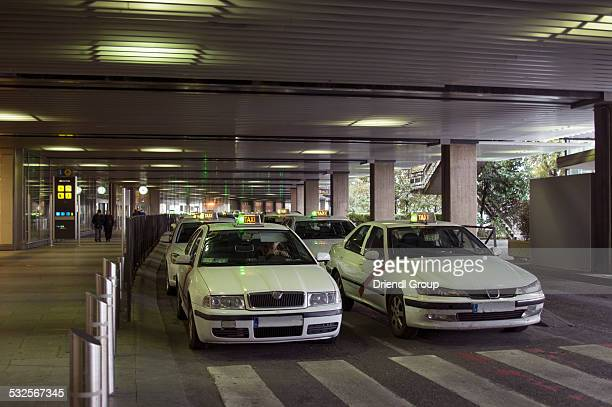 Rows of cabs at the Madrid airport.