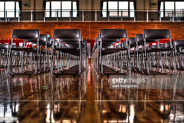Rows of chairs at a Japanese school