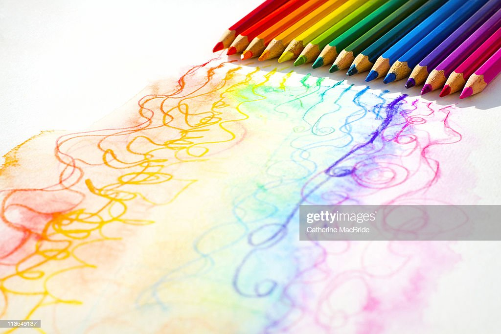 Rows of colored pencils and colored lines : Stock Photo