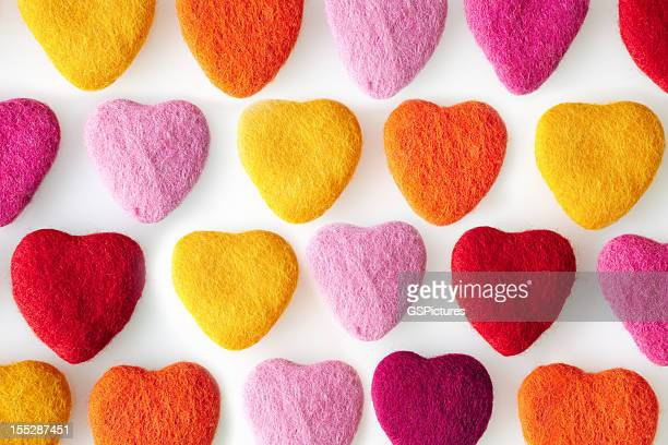 Rows of colorful felt shaped hearts