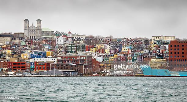 rows of colorful houses and in newfoundland - st. john's newfoundland stock photos and pictures