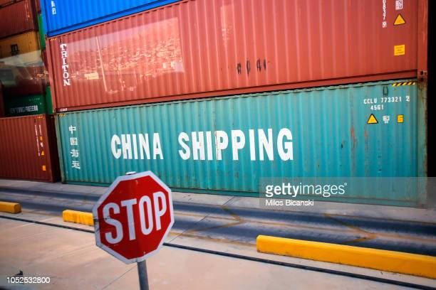 Rows of coloured shipping containers are seen at the freight terminal at Piraeus port, operated by Piraeus Container Terminal SA on October 19, 2018...