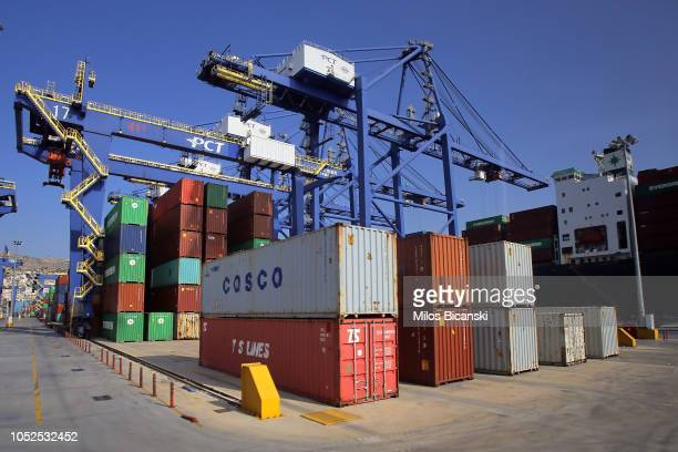 Rows of coloured shipping containers from COSCO Pacific Ltd AP MoellerMaersk A/S CMA CGM SA Yang Ming Marine Transport Corp and Evergreen Marine Corp...