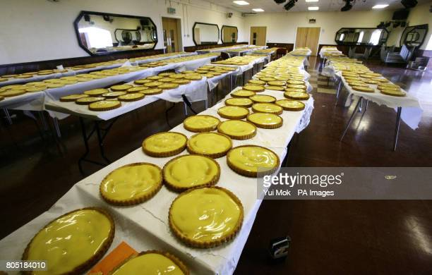 Rows of custard pies before the Jewish Lads' Girls' Brigade successfully clinched the world record for the largest custard pie fight in Colchester...